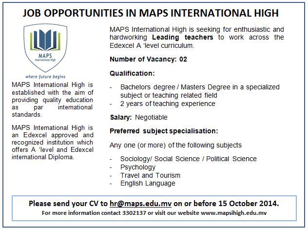 Job Vacancy for Leading Teacher Post