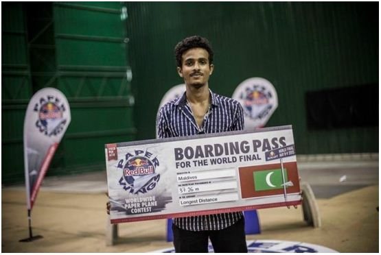 Ali Afrah of MAPS I High wins the Red Bull Paper Wings Championship